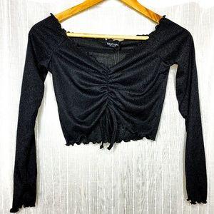 Nasty Gal Black Long Sleeve Rouche Crop Top US 6 S